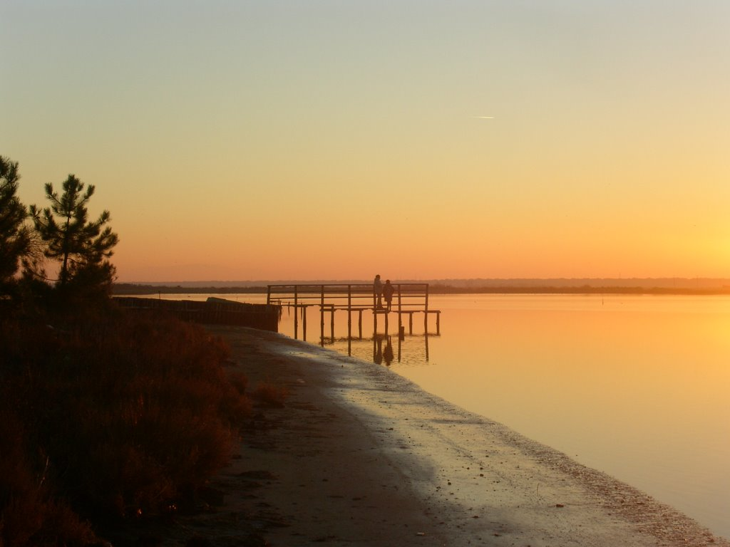 Valle di Marina Romea, pontile al tramonto