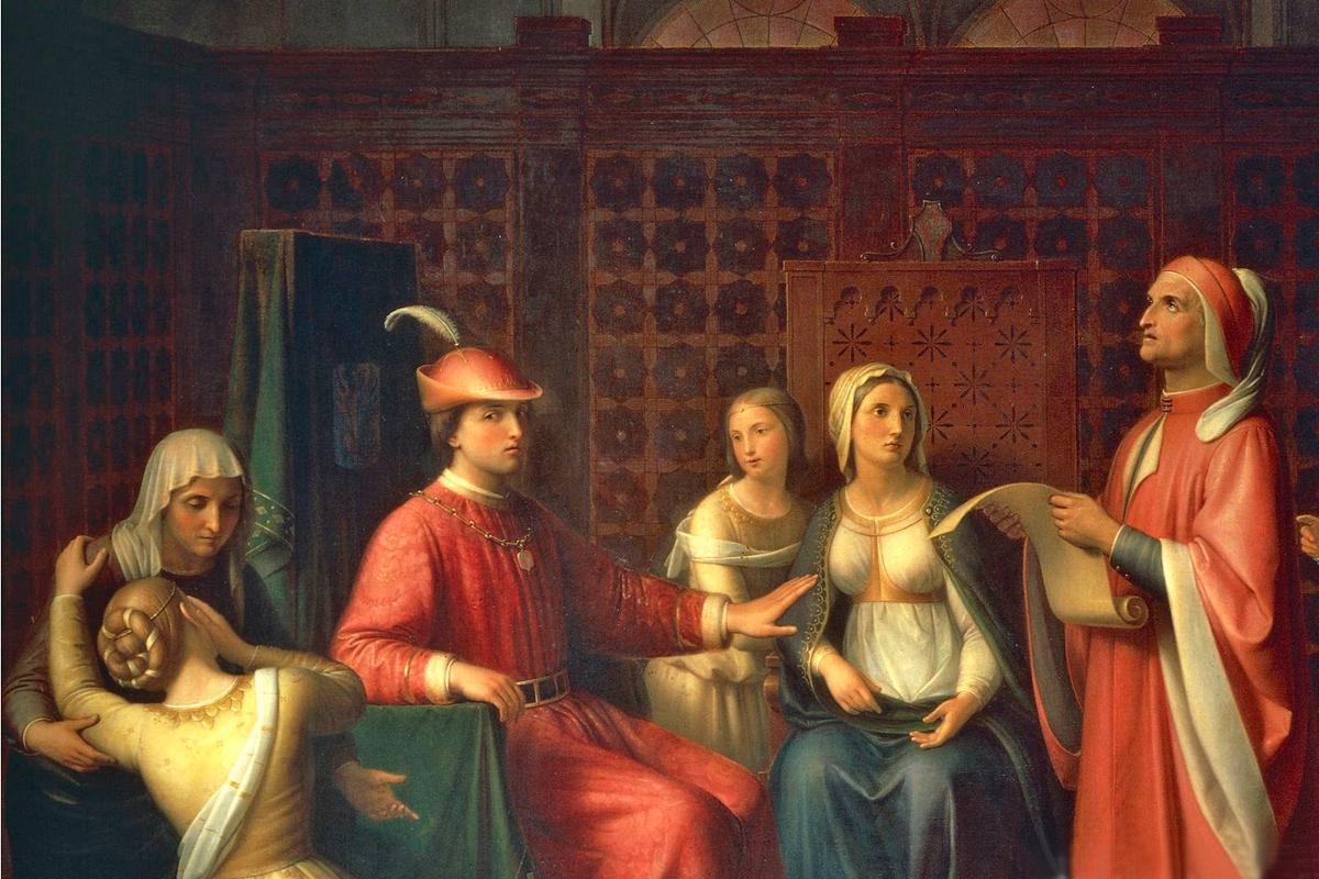 Dante Alighieri legge la Divina Commedia alla corte di Guido Novello (Firenze)