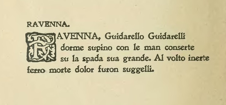 Poesia scritta da Gabriele d'Annunzio in onore del Guidarello